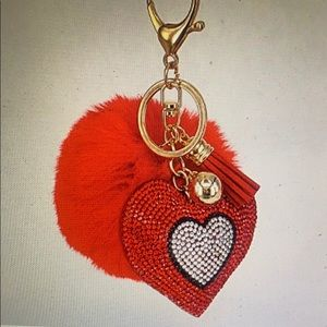 Red Sequin Heart w/Black Border, Pom Poms and Hook